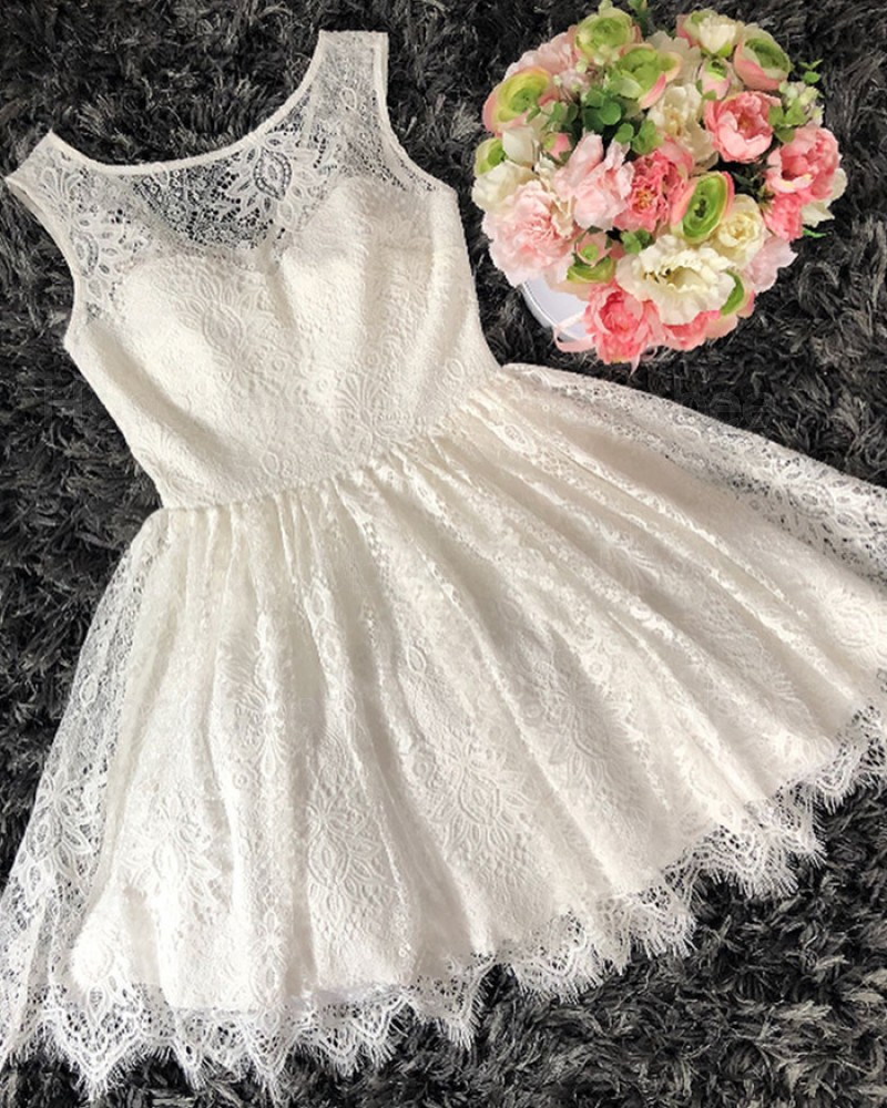 A-line Scoop Neckline Ivory Lace Homecoming Dress HD3331