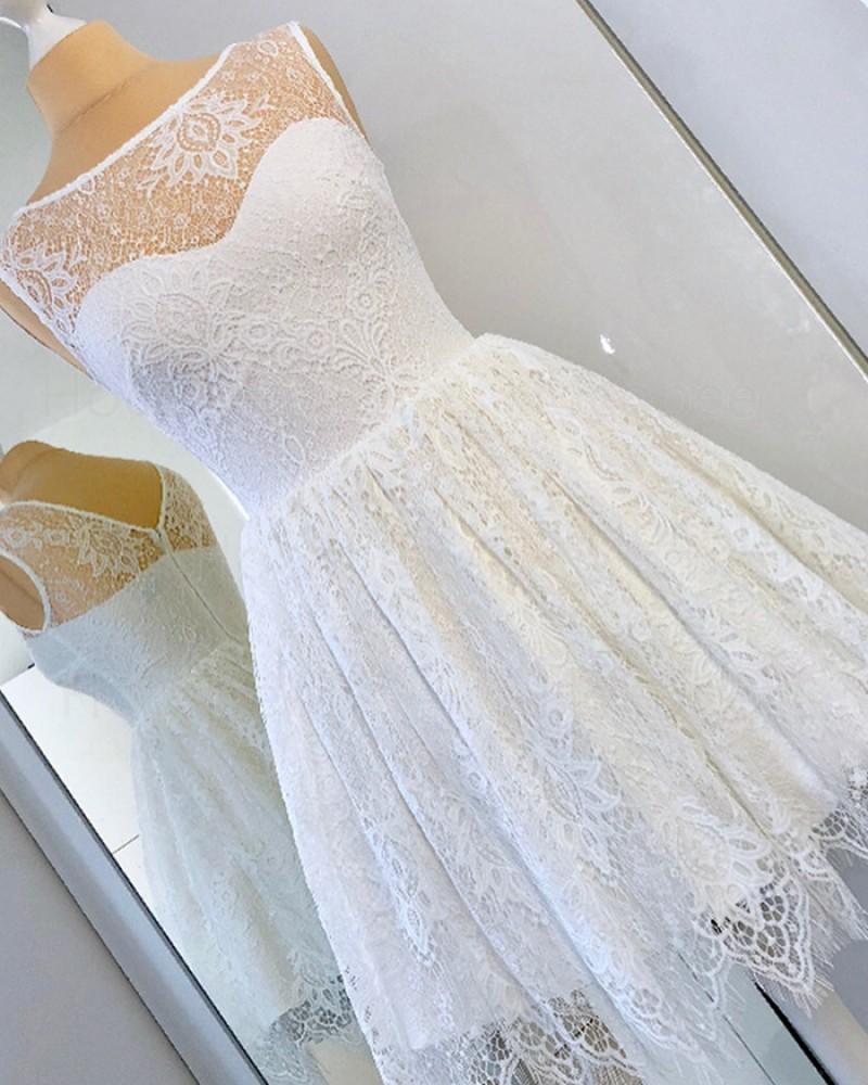 Bateau Neckline White Lace Pleated Knee Length Short Formal Dress