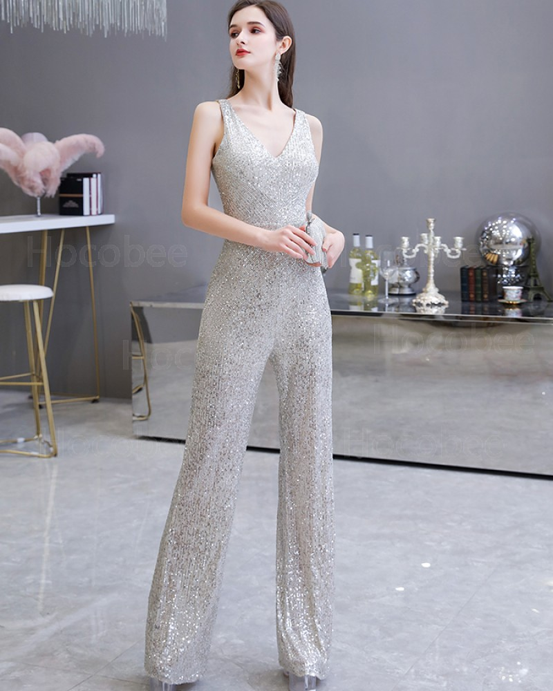 V-neck Sequin Silver Jumpsuit for Evening Party HG20447