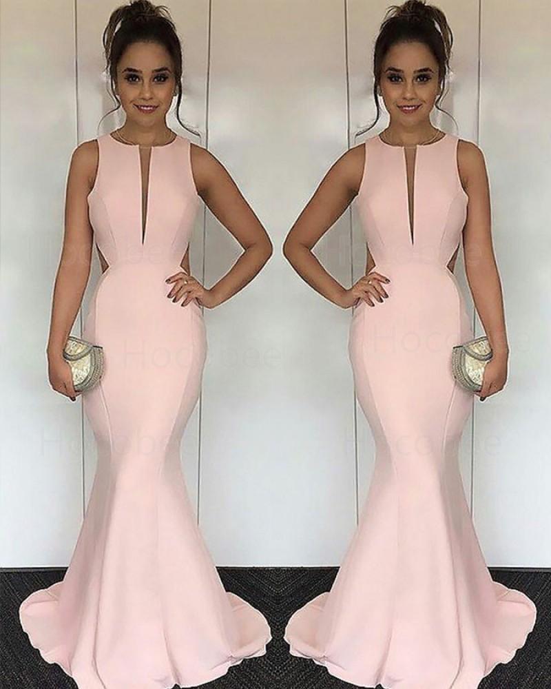 Pink Mermaid Satin Jewel Cutout Long Formal Dress PM1170