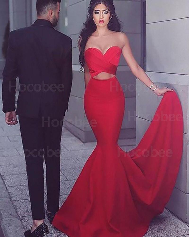 Sweetheart Satin Mermaid Cutout Prom Dress PM1173