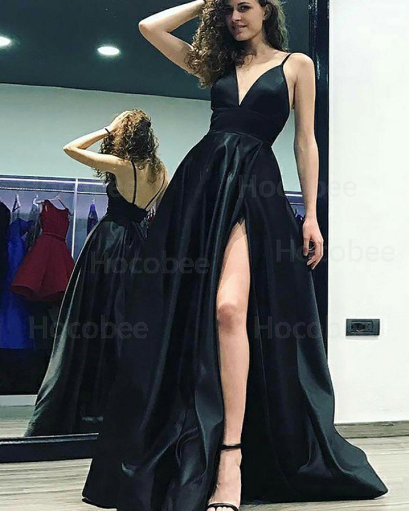 Spaghetti Straps Black Satin Prom Dress with Side Slit PM1179