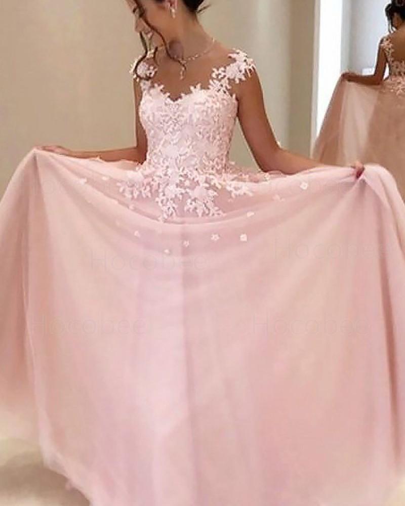 Pink Chiffon Sheer Neck Appliqued Prom Dress PM1187