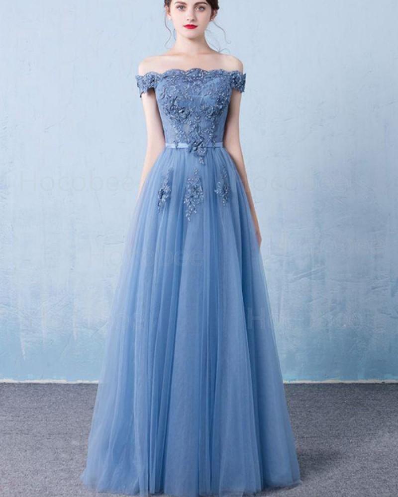 Off the Shoulder Blue Appliqued Tulle Long Formal Dress PM1320