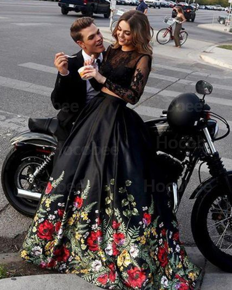 Two Piece Floral Print Prom Dress with Long Sleeve PM1380