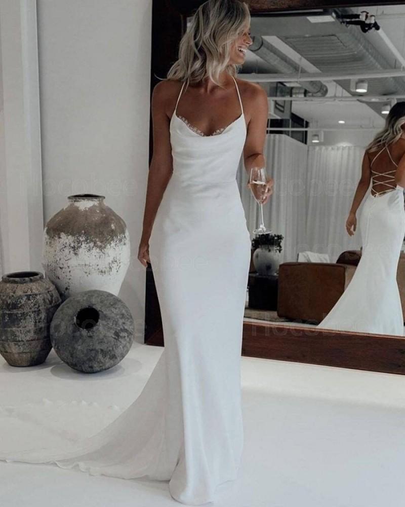 White Mermaid Simple Halter Wedding Dress with Court Train WD2446