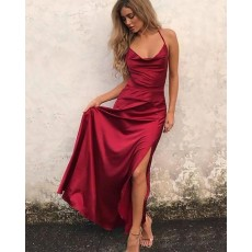 Simple Satin Spaghetti Straps Tight Red Prom Dress with Side Slit PM1172