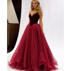 Simple Sweetheart Red Tulle Ball Gown Prom Dress PM1337