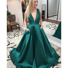 Simple Deep V-neck Long Satin Green Prom Dress with Pockets PM1411