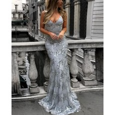 Spaghetti Straps Dusty Blue Sequined Mermaid Prom Dress PM1435