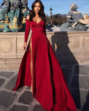 Satin Burgundy Long Sleeved Evening Dress with High Slit PD1039