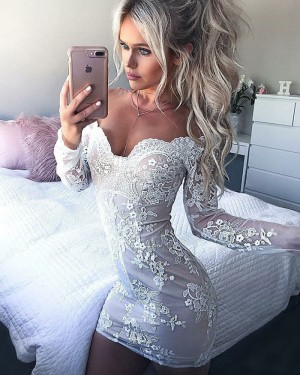 Off the Shoulder Tight White Lace Applique Party Dress with Long Sleeves HD3007