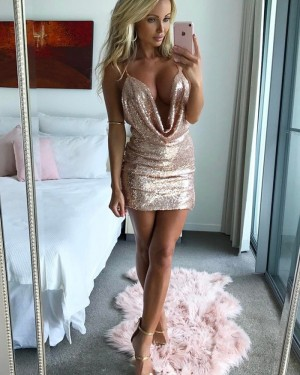 Spaghetti Straps Tight Gold Sequined Sheath Homecoming Dress HD3008