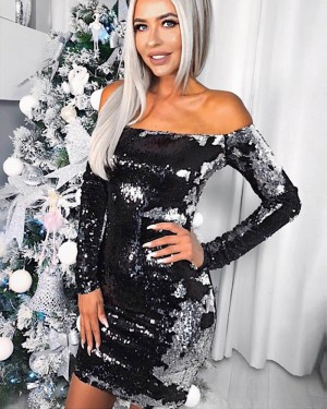 Off the Shoulder Tight White and Black Sequined Club Dress HD3011