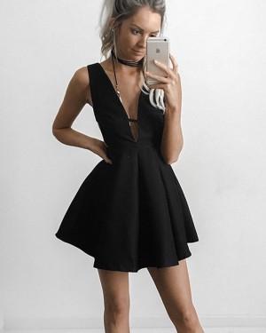 Simple Black Satin Deep V-neck Pleated Homecoming Dress with Cutout Waist HD3027
