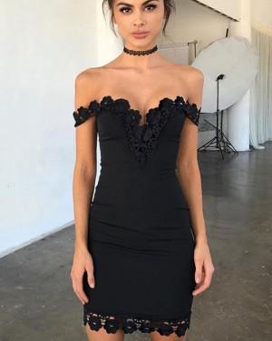 Off the Shoulder Tight Black Lace Appliqued Graduation Dress HD3034