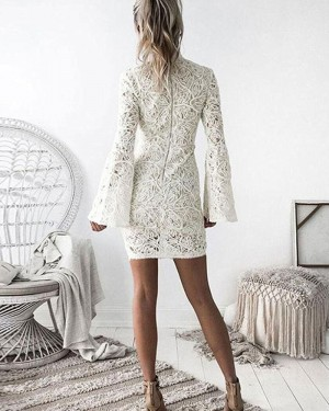 High Neckline Ivory Lace Tight Graduation Dress with Bell Sleeves HD3040