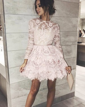 Jewel Neckline Lace Ivory Layered Homecoming Dress with Long Sleeves HD3045