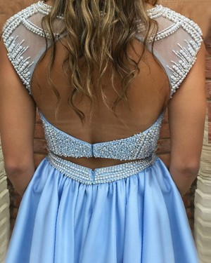 Light Blue Jewel Neckline Satin Beading Bodice Pleated Homecoming Dress with Pockets HD3047