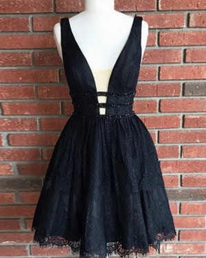 Black Lace Tulle Waist V-neck Pleated Homecoming Dress HD3054
