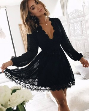 Lace V-neck Black Graduation Dress with Long Sleeves HD3059