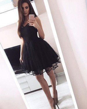 Simple Black Satin and Tulle Square Pleated Homecoming Dress HD3060