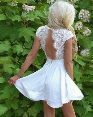 Lace Bodice Satin White V-neck Homecoming Dress with Keyhole Back HD3061