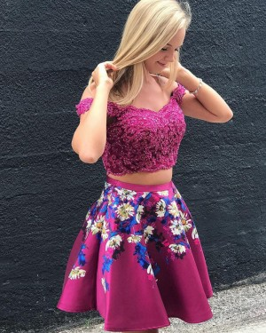 Lace Bodice Rose Red Off the Should Two Piece Homecoming Dress HD3068