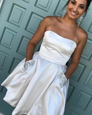 Strapless Ivory Satin Short Homecoming Dress with Pockets HD3073