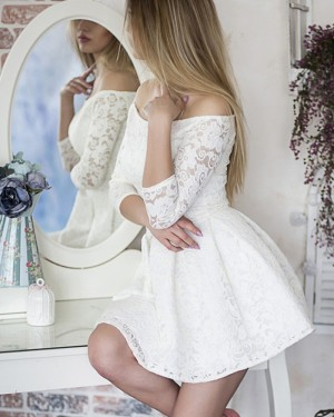 Off the Shoulder Ivory Lace Party Dress with 3/4 Length Sleeves HD3078