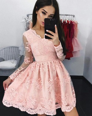 Elegant Blush Pink V-neck Pleated Homecoming Dress with Long Sleeves HD3079