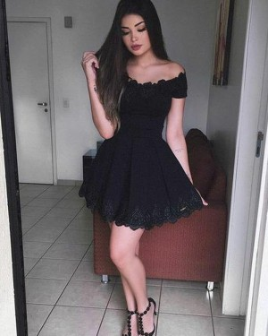 Fit and Flare Off the Shoulder Black Lace Pleated Homecoming Dress HD3086