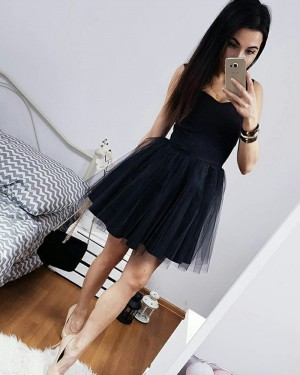 Simple Satin and Tulle Black Square Short Homecoming Dress HD3091
