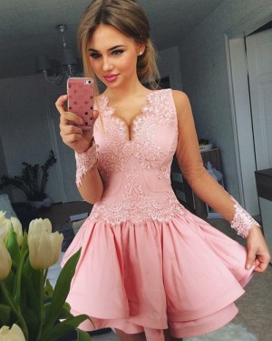 A-line Pink V-neck Blush Homecoming Dress with Long Sleeves HD3093