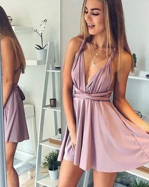 Convertible V-neck Satin Lavender Short Homecoming Dress HD3098