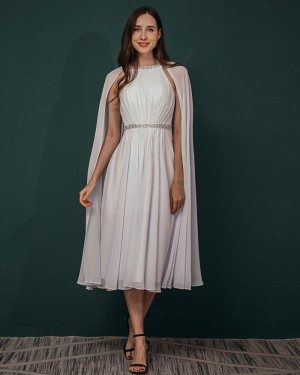 White Chiffon Beading Pleated Ankle Length Prom Dress with Hanging Sleeves QS311046