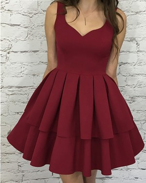 Square Neckline Layered Pleat Rose Red Satin Homecoming Dress HD3110