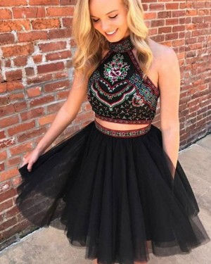 Two Piece High Neck Beading Pleated Homecoming Dress HD3124