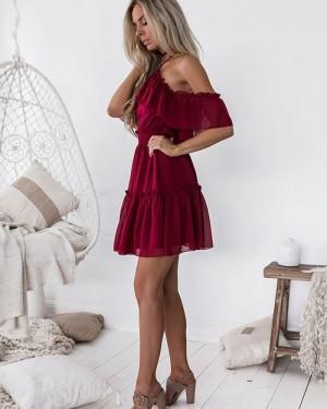 A-line Cold Shoulder Burgundy Chiffon Homecoming Dress HD3127