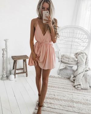 Simple Spaghetti Straps V-neck Pleated Chiffon Pink Homecoming Dress HD3129