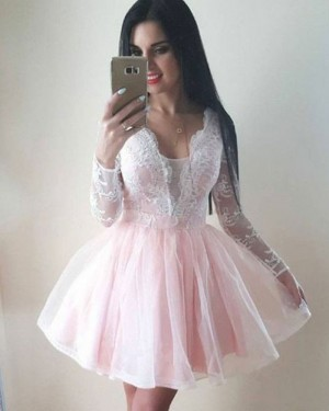 Pearl Pink V-neck Lace Bodice Homecoming Dress with Long Sleeves HD3131