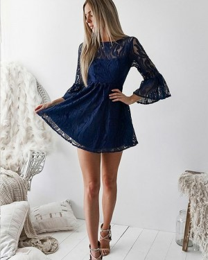 Navy Blue Jewel Neckline Lace Homecoming Dress with Bell Sleeves HD3133