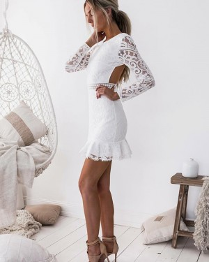 Jewel Neckline White Tight Lace Homecoming Dress with Long Sleeves HD3140