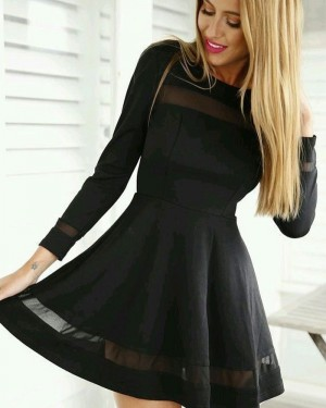 Jewel Neckline Black A-line Little Black Dress with Long Sleeves HD3141