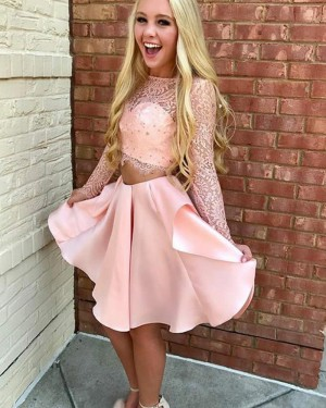 Two Piece Sheer Neckline Lace Bodice Pink Homecoming Dress HD3142