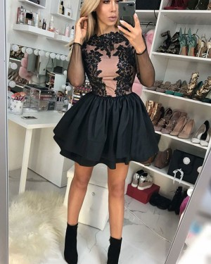 Jewel Satin Lace Appliques Homecoming Dress with Long Sleeves HD3145
