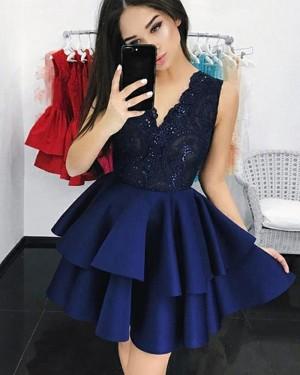 V-neck Navy Blue Lace Bodice Layered Homecoming Dress HD3147
