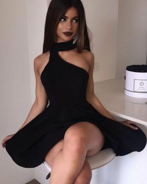 High Neck Asymmetric Black Satin Homecoming Dress HD3153