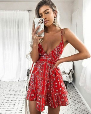 V-neck Coral Pink A-line Print Party Dress HD3159