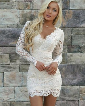 Tight Ivory Lace Queen Anne Party Dress with Long Sleeves HD3171